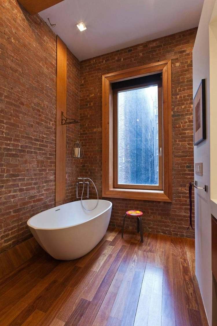 Baño Suelo Gris Pared Blanca:decoracion baños modernos pared ladrillo banera blanca ideas