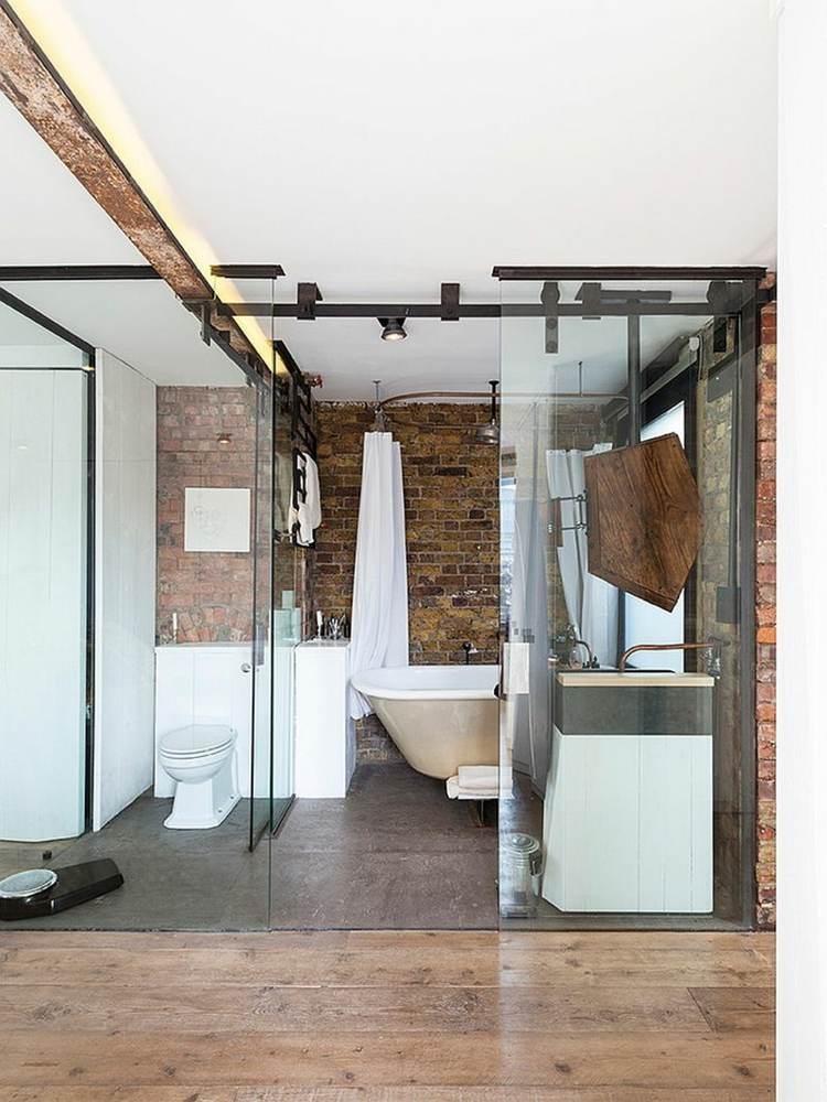 decoracion baños modernos pared ladrillo cristal ladrillo ideas