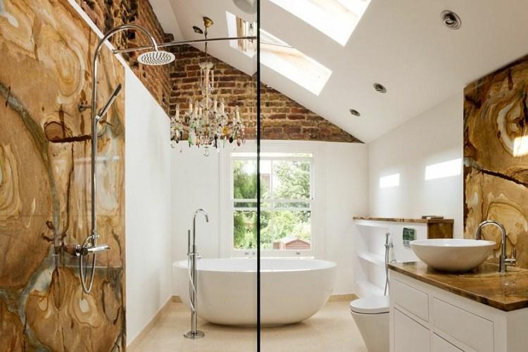 decoracion baños modernos pared ladrillo tradicional modero ideas