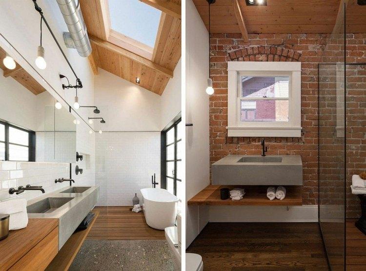 decoracion baños modernos pared ladrillo ventana techo ideas