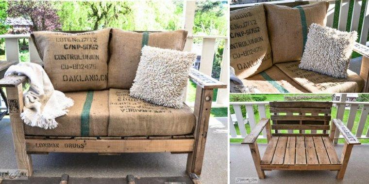 conjunto sillones unidos madera decoracion con palets diseo muebles