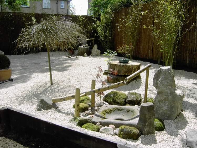 decoracion de jardines diseno asiatico bonsai suelo grava ideas