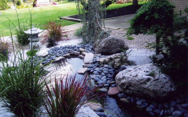 decoracion de jardines diseno asiatico estanque cesped ideas