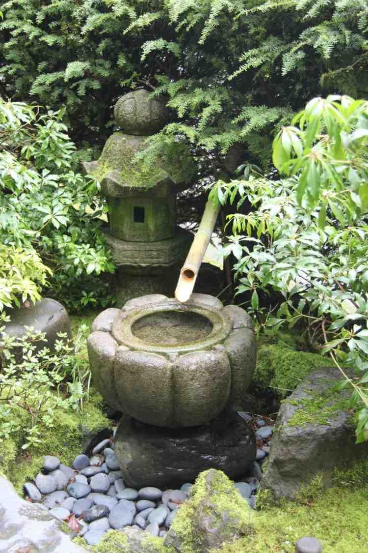 decoracion jardines diseno asiatico fuente bambu ideas
