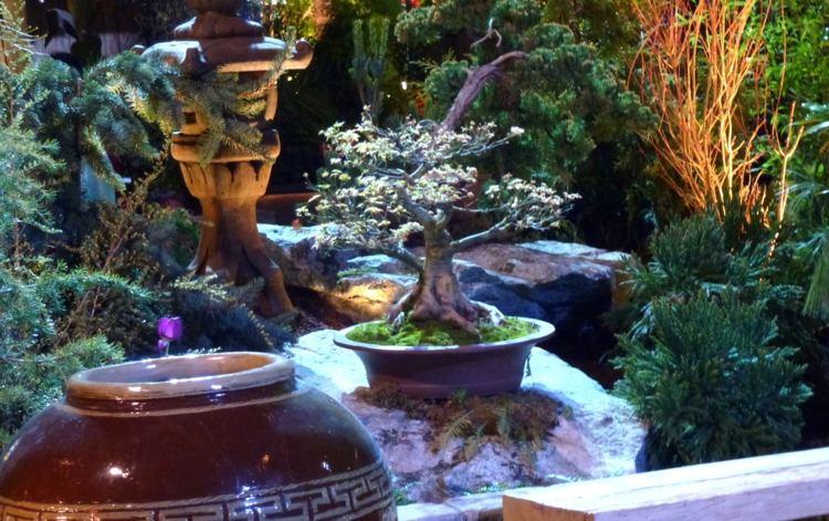 decoracion jardines diseno asiatico maceta bonsai ideas