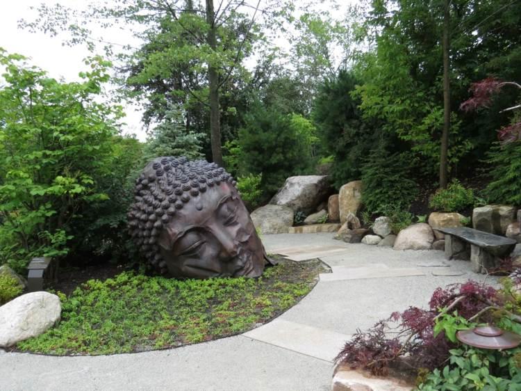 decoracion de jardines dieno asiatico buda metalico ideas