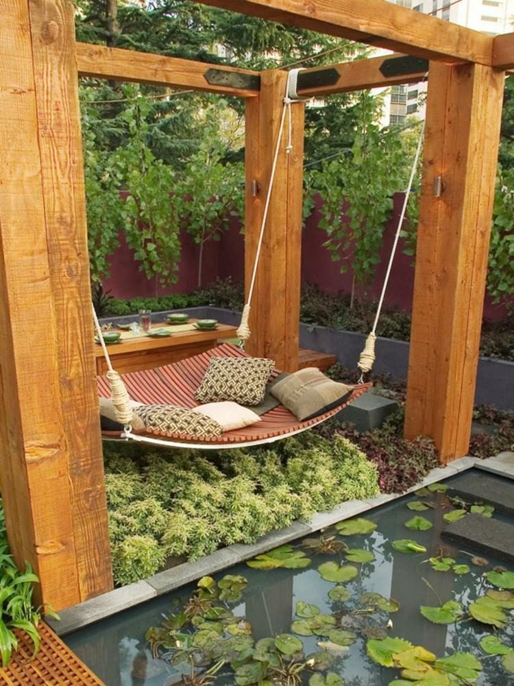 decoracion de jardines diseno asiatico cama colgante ideas
