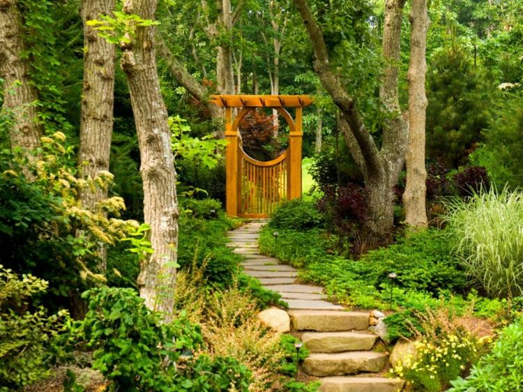 decoracion de jardines diseno asiatico escalera plantas ideas