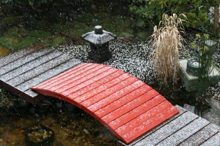 decoracion de jardines diseno asiatico puente rojo ideas