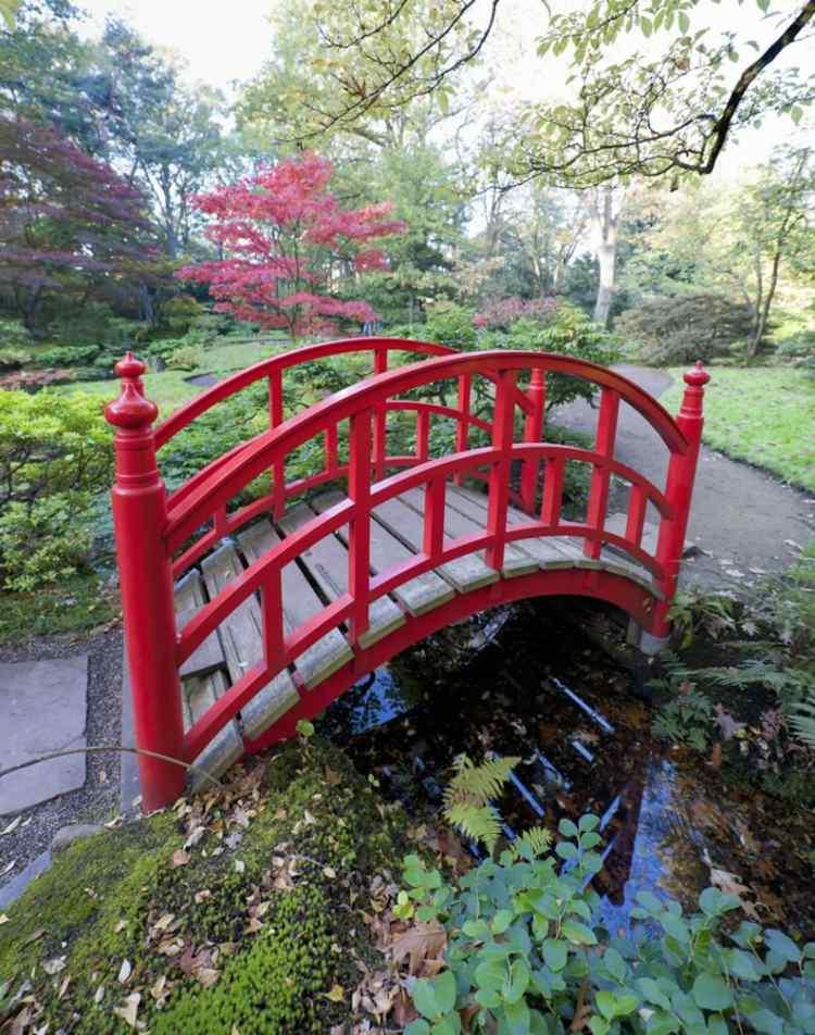 decoracion jardines estilo asiatico puente roja ideas