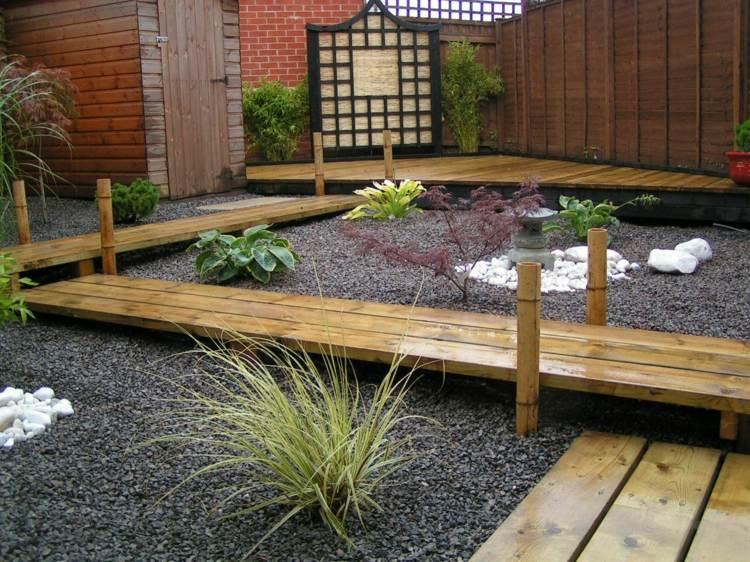 decoracion jardin diseno asiatico caminos madera ideas