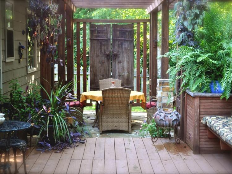 decoracion jardin diseno asiatico chino pergola ideas