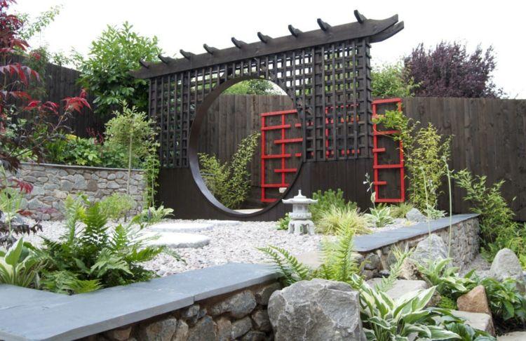 decoracion jardin diseno asiatico muralla pergola ideas