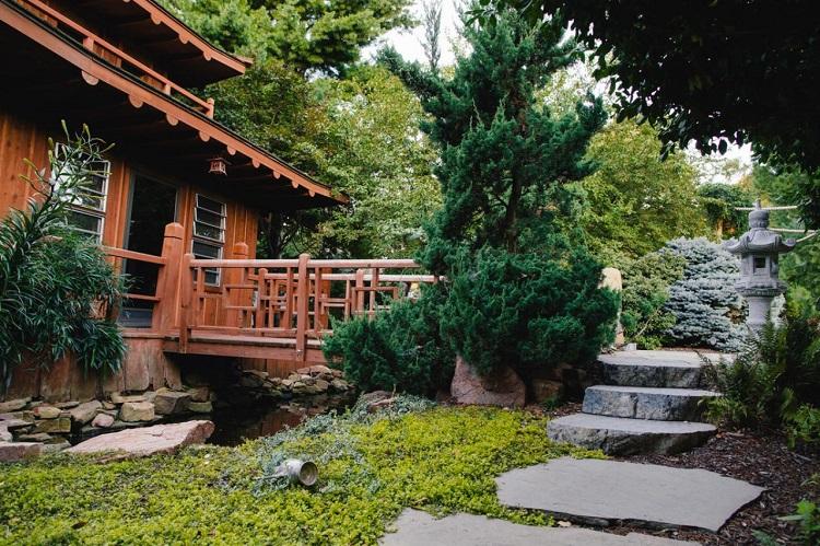 decoracion jardin diseno asiatico puente madera ideas