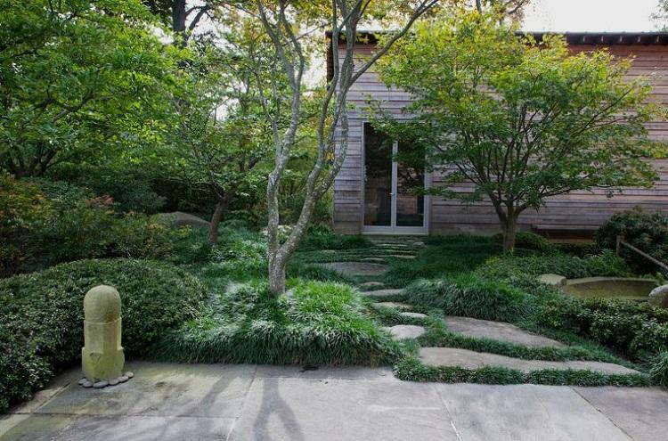 decoracion jardin diseno asiatico zen grava hierba ideas