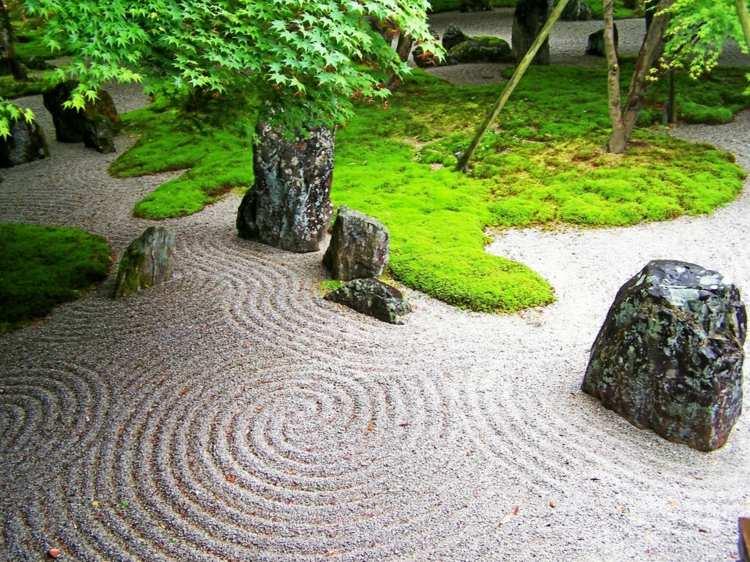 decoracion jardin diseno asiatico zen grava piedra ideas
