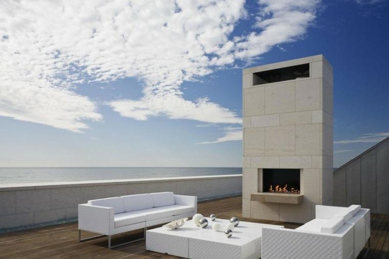 decoracion terraza amplia chimenea muebles blancos ideas