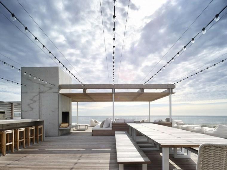 decoracion terraza amplia iluminada ideas modernas