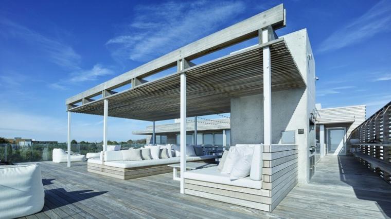 decoracion terraza muebles pergola madera ideas