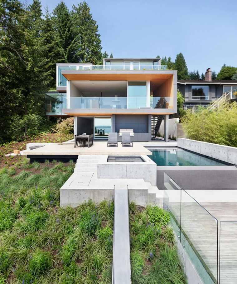 decoracion terraza piscina suelo hormigon ideas