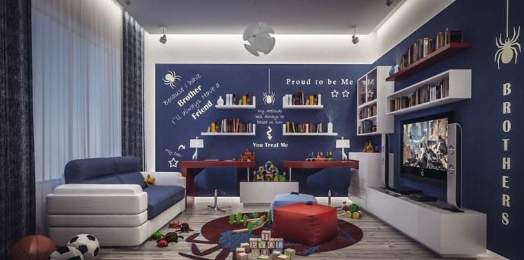 decorar paredes habitacion nino color azul letras blancas ideas