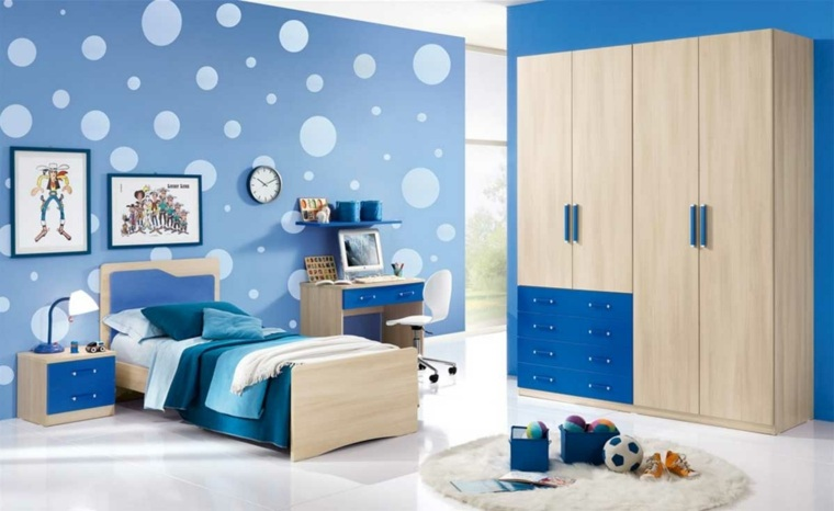 decorar paredes habitacion nino color azul ideas