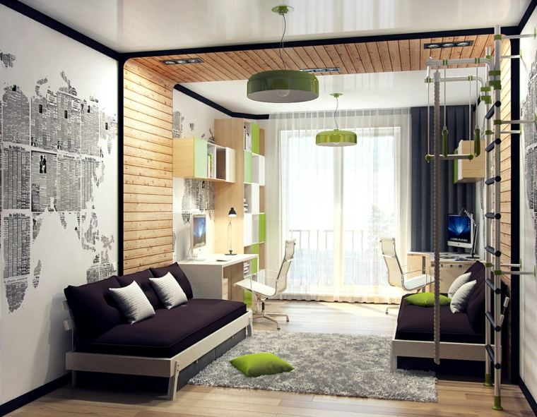 decorar paredes habitacion nino estampa mapa mundo ideas