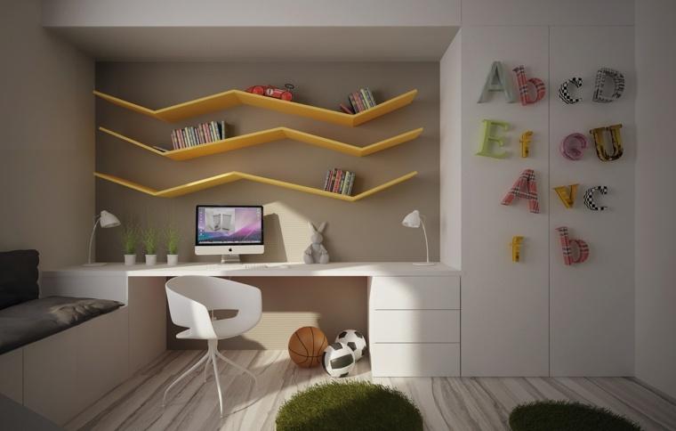 decorar paredes habitacion nino estanterias amarillas ideas