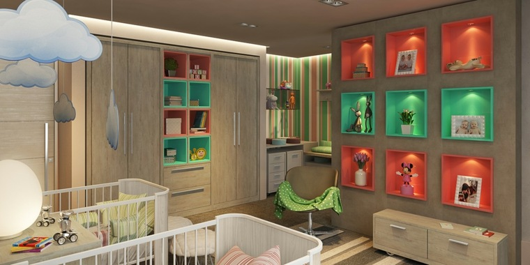 decorar paredes habitacion nino estantes iluminados ideas