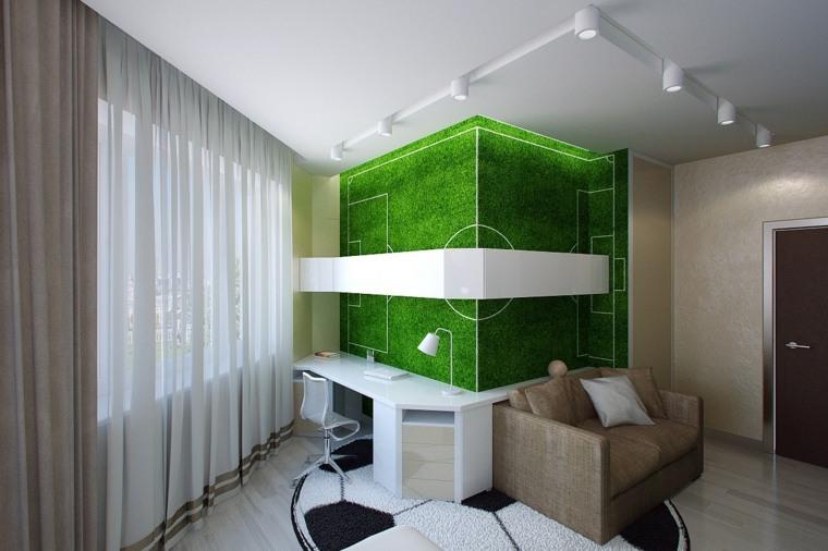 decorar paredes habitacion nino futbolistas ideas
