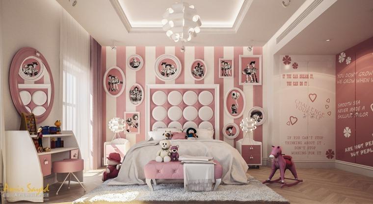 decorar paredes habitacion nino lujosa rosa ideas