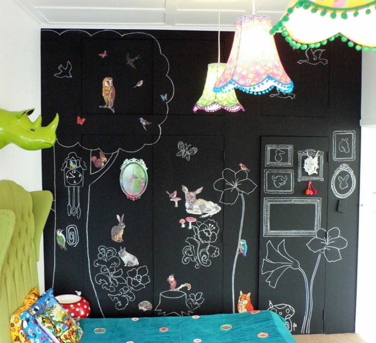 decorar paredes habitacion nino pared pizarra dibujos ideas