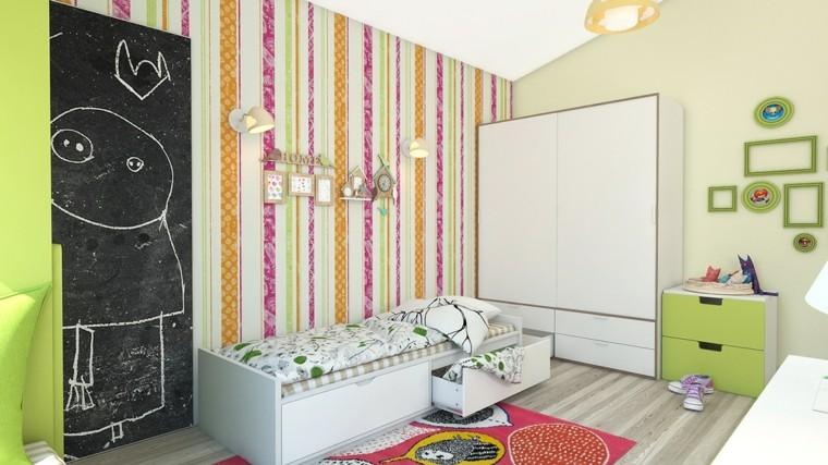 decorar paredes habitacion nino rayas distintos colores ideas