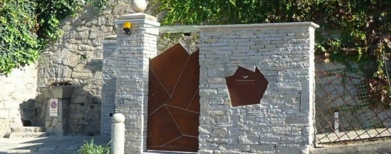muro puerta acero corten