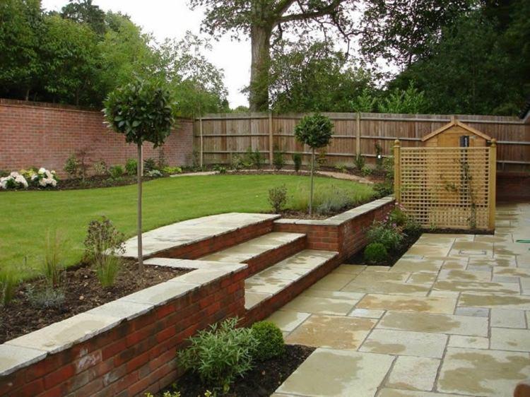 diseño jardin dos niveles gradas