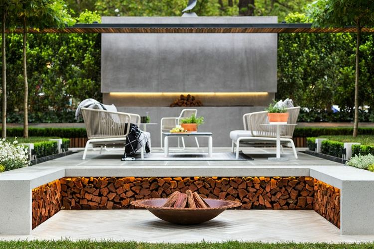 diseño chimenea lujosa jardin