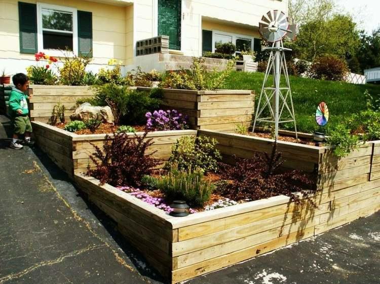 diseño gradas jardineras madera