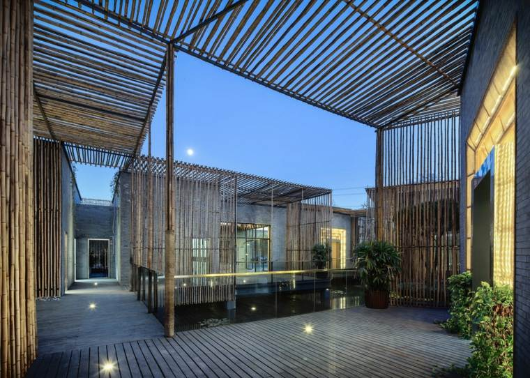diseño terrzaza cañas bambú