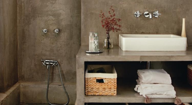 diseño cuarto baño cemento marrón