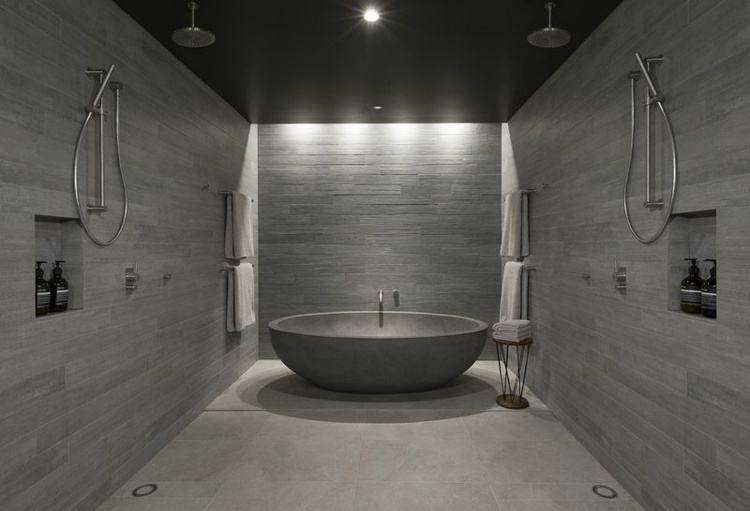 diseño bañera ovalada cemento