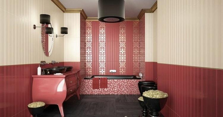 diseño baño gresite rojo