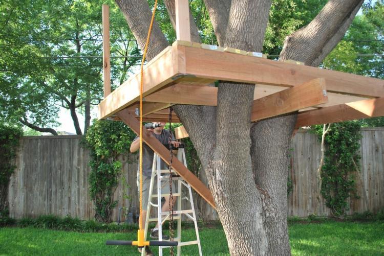 diseño estructura madera casita arbol