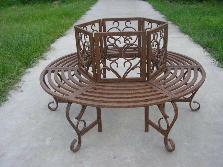 diseño estructura banco metal arboles