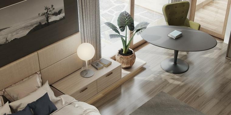 diseño habitación muebles madera laminada