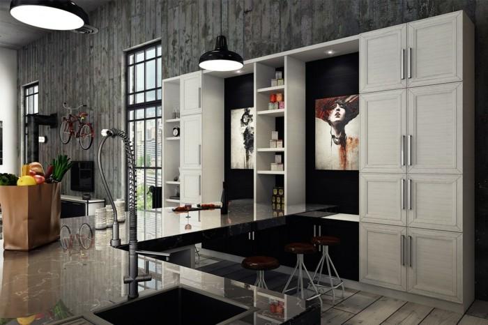 diseño industrial cocinas negros lamparas estantes