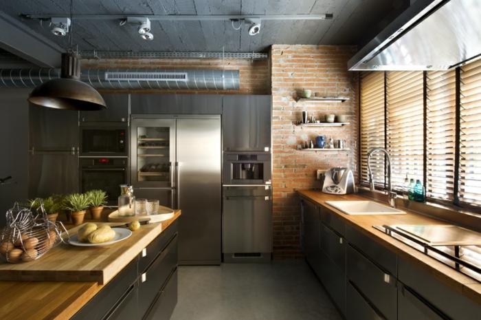 diseño industrial cocinas pendientes salones grises