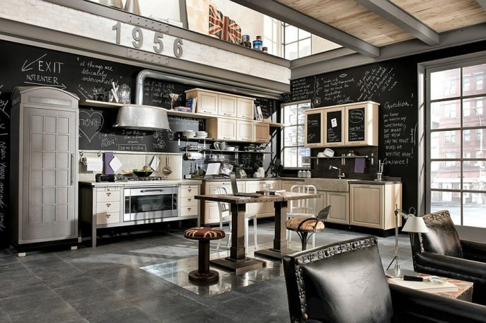 diseño industrial cocinas pizarras colores vigas