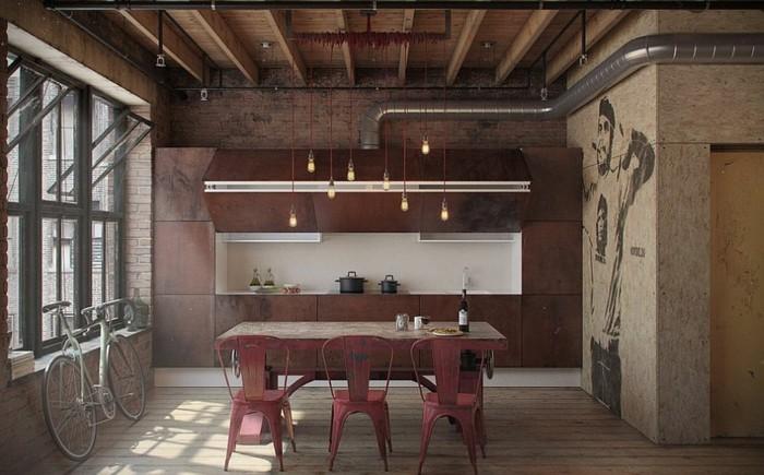 diseño industrial cocinas pizarras estantes rojos