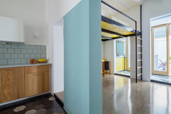 diseño interior cocina celeste