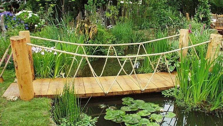 Puente en el jard n cincuenta y nueve ideas para for Estanque natural